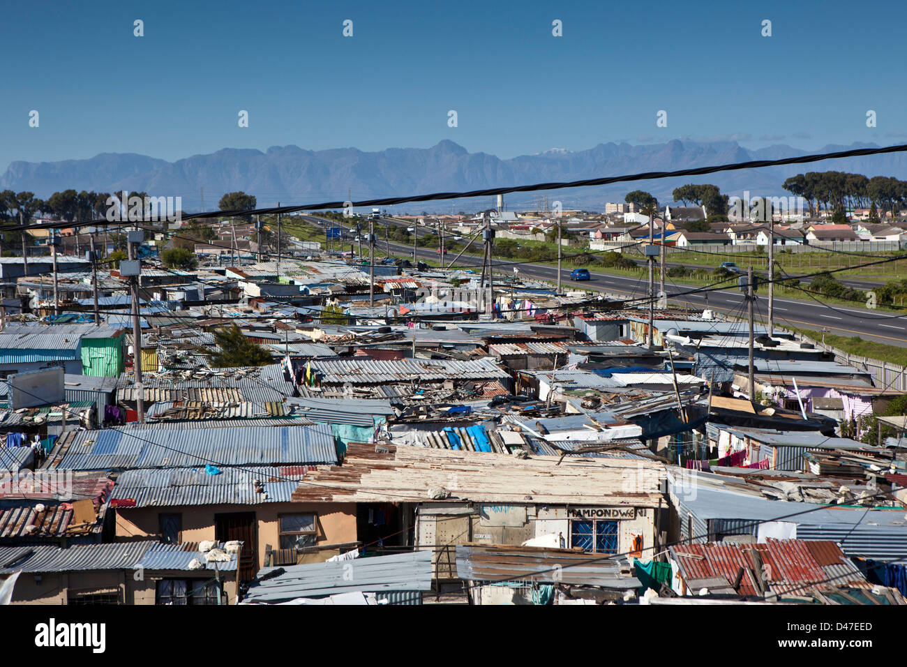 a view of homes in philippi township a slum dwelling in cape town