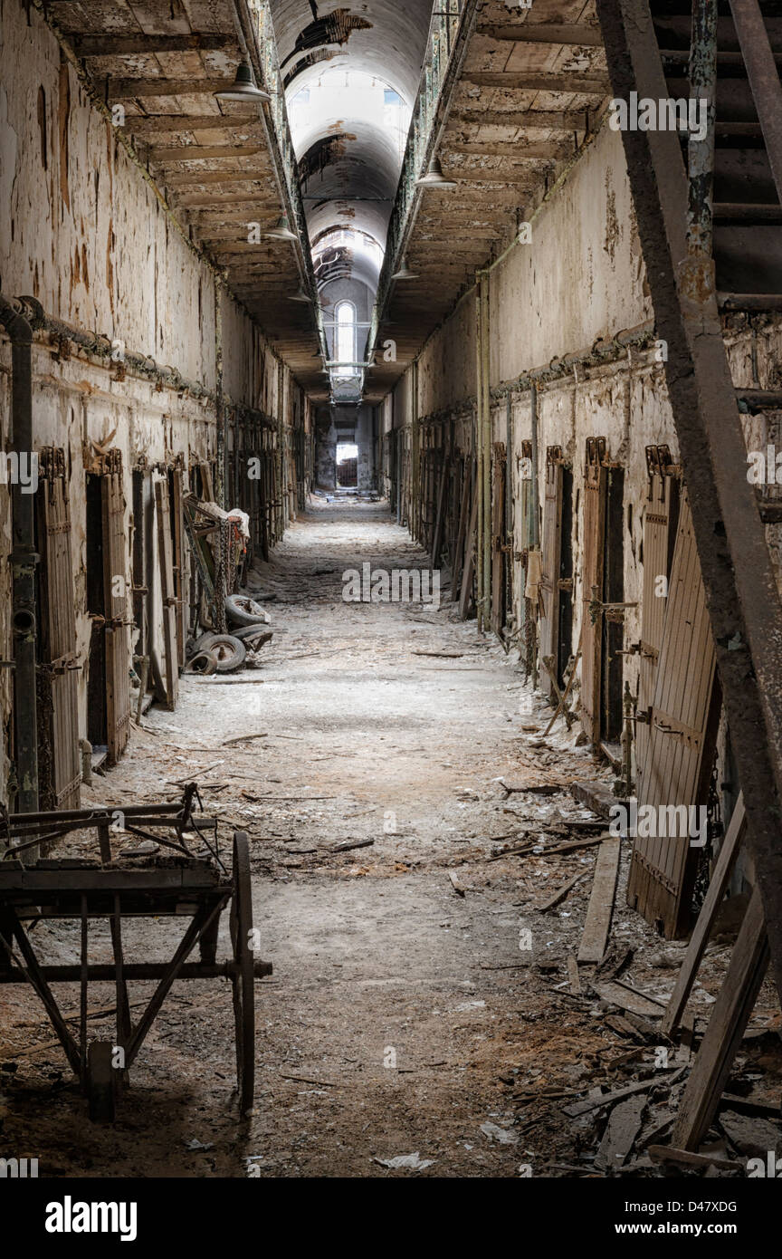 Prison Cell Block In Abandoned Bad Condition Empty And Old - Most eastern state in usa