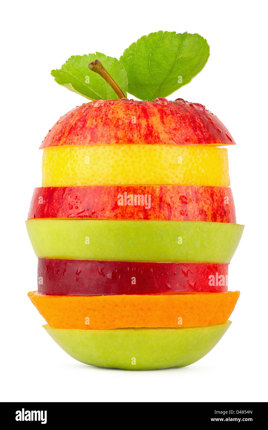 stack of different fruit slices on white background stock photo