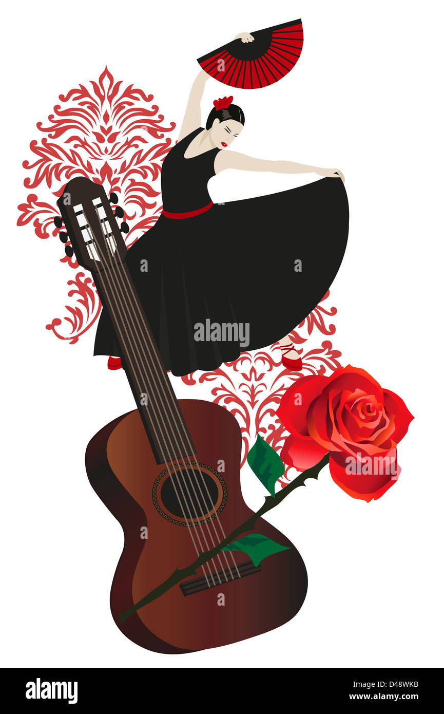 illustration of a flamenco dancer with spanish guitar and rose