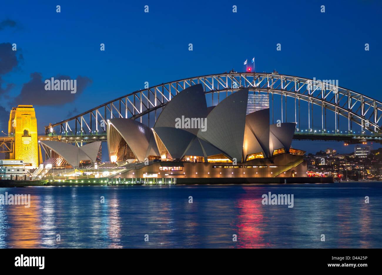 Sydney opera house and harbour bridge - Stock Photo View Sydney Opera House And Harbour Bridge At Night In Australia