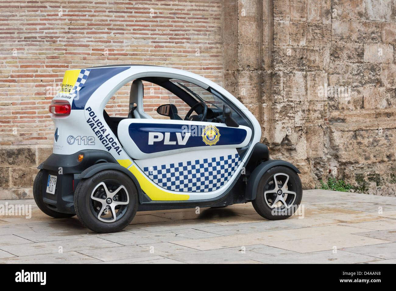 renault twizy electric police car stock photo royalty free image 54317684 alamy. Black Bedroom Furniture Sets. Home Design Ideas