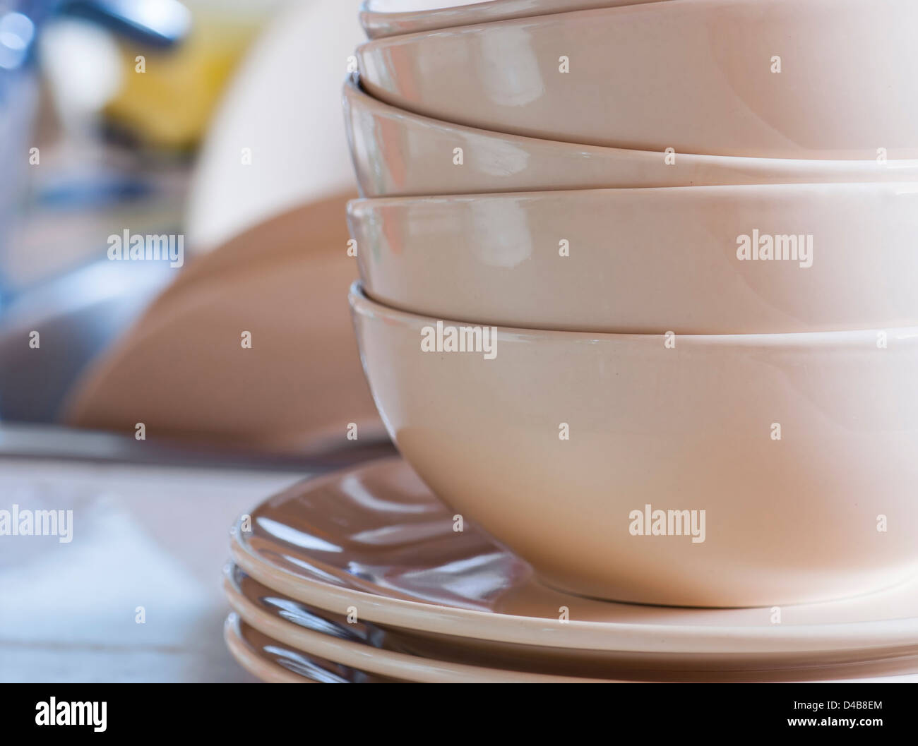 Kitchen Sink With Clean Dishes clean dishes in kitchen sink stock photo, royalty free image