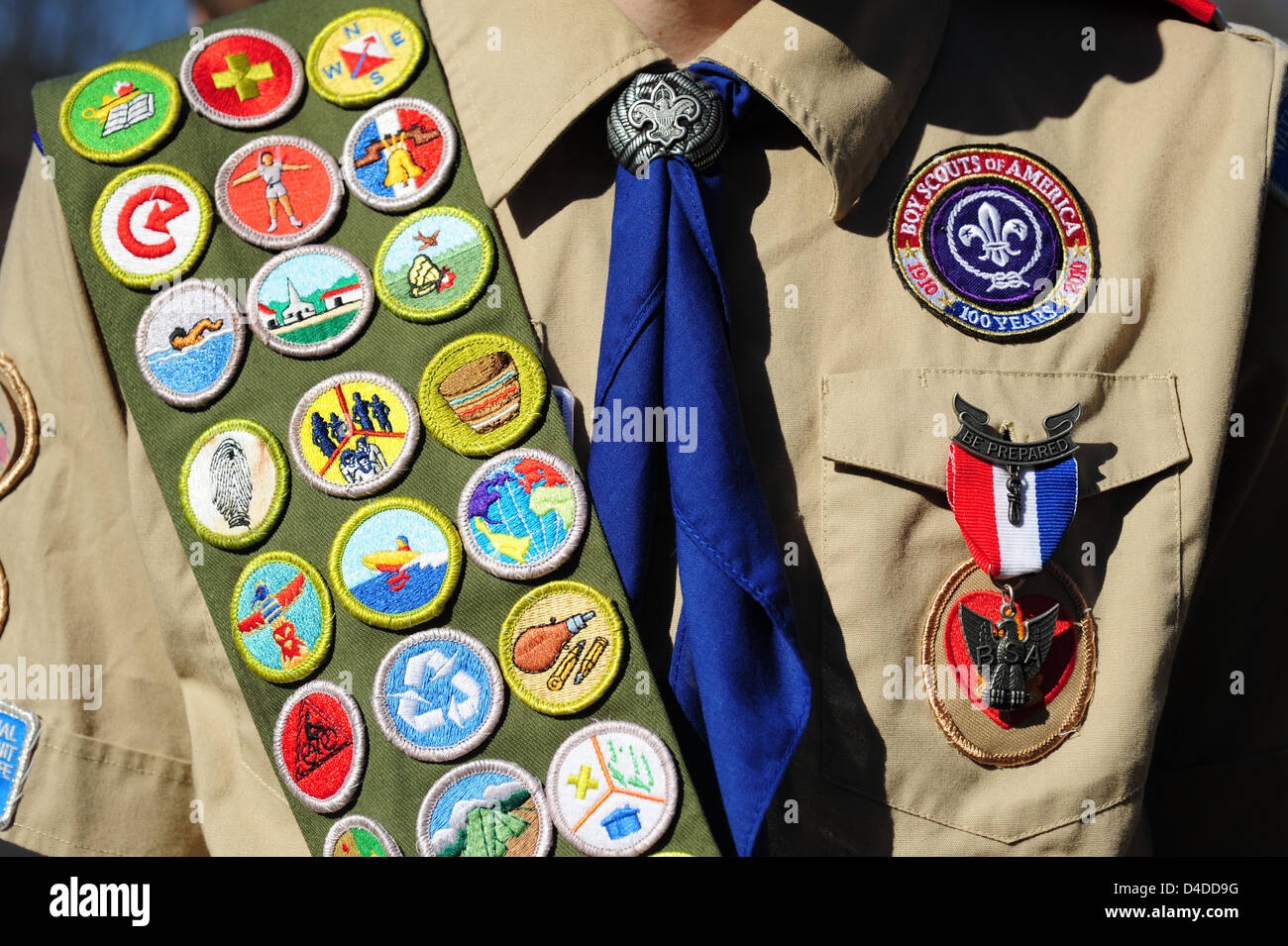 Boy Scouts of America close up of an Eagle Scout with a sash full ...