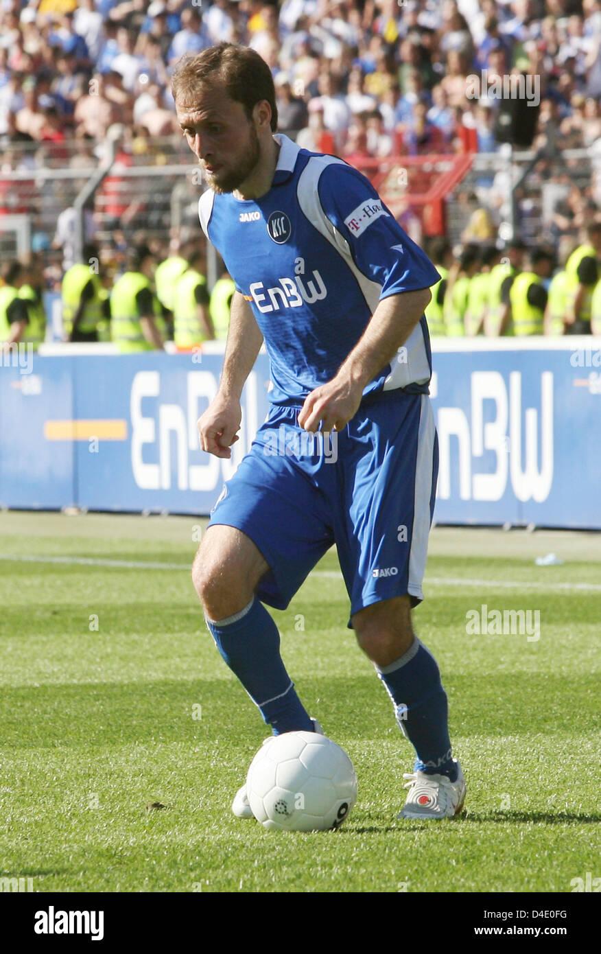 Alex Bochum iashvili of karlsruhe is on the in the bundesliga