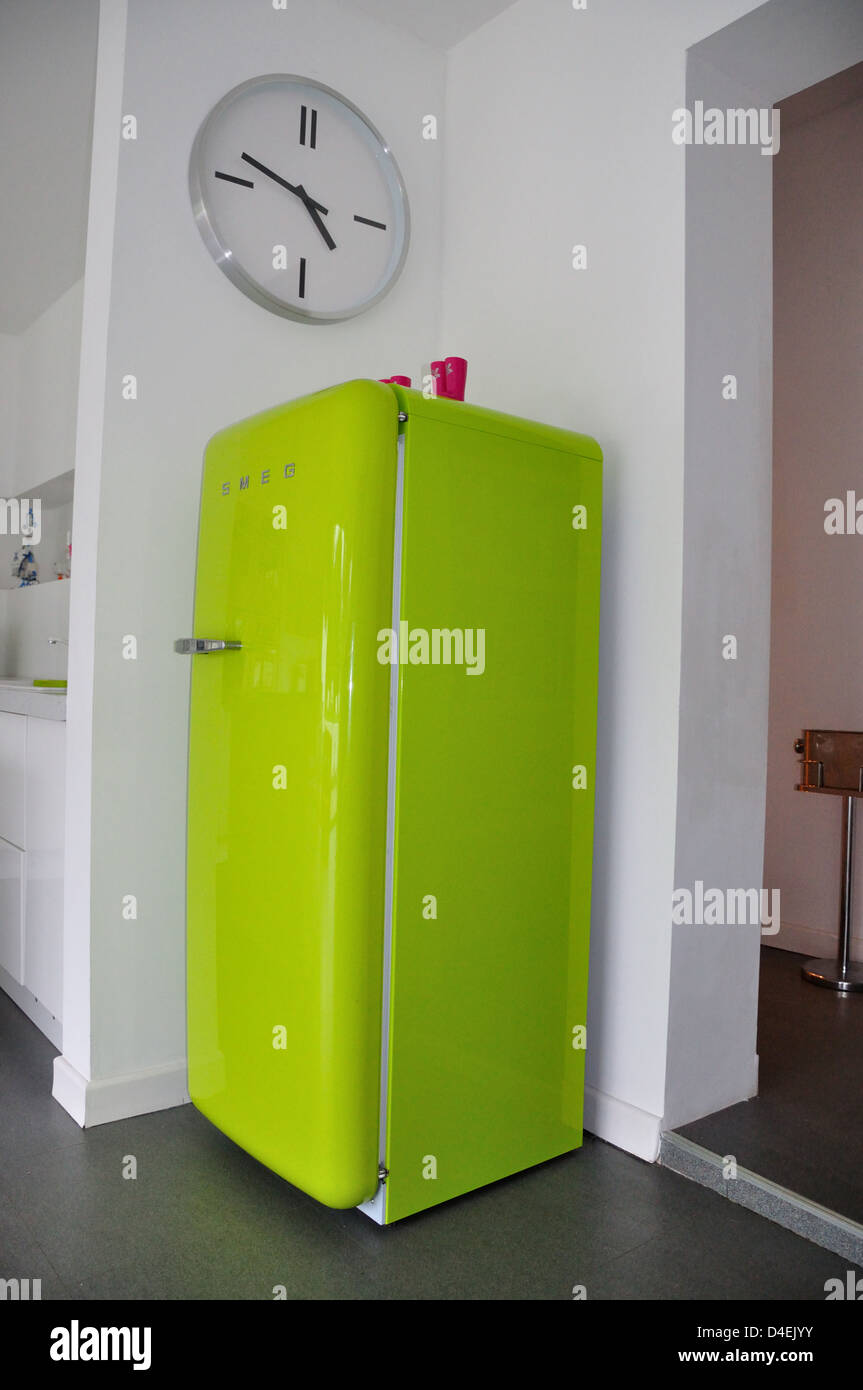 Lime Green Smeg Fridge In Modern Kitchen Ascot Berkshire