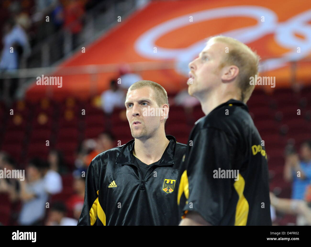 Dirk Nowitzki L and Chris Kaman of Germany during the men's