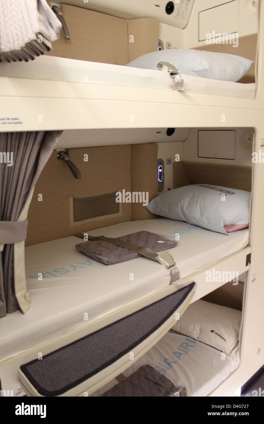 The bunk beds used by Malaysian Airlines cabin crew on the new Airbus Stock Photo, Royalty Free ...
