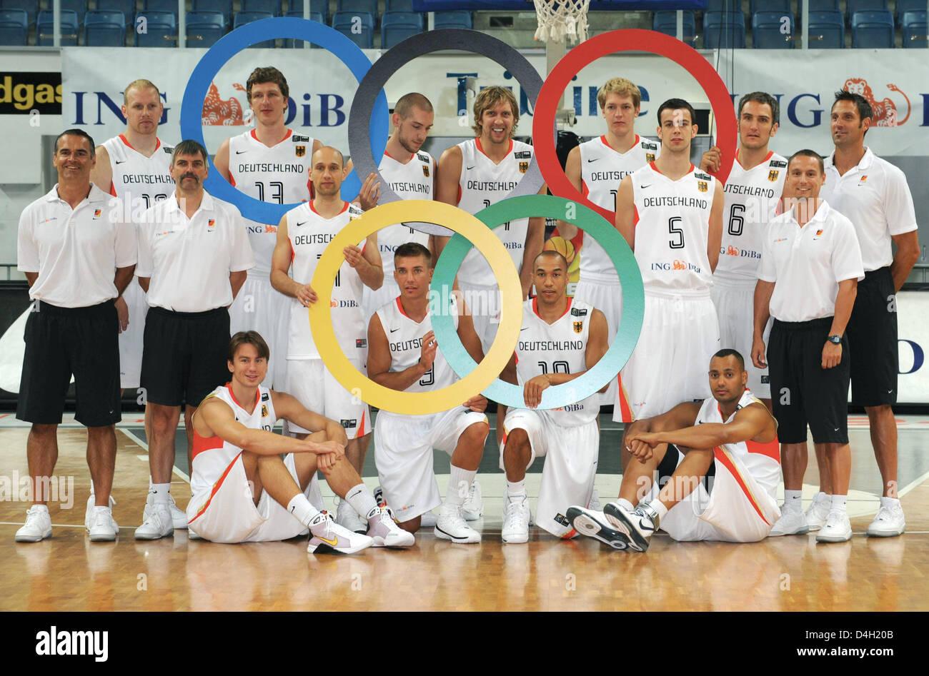 The German Olympic basketball squad back row L R Chris Kaman
