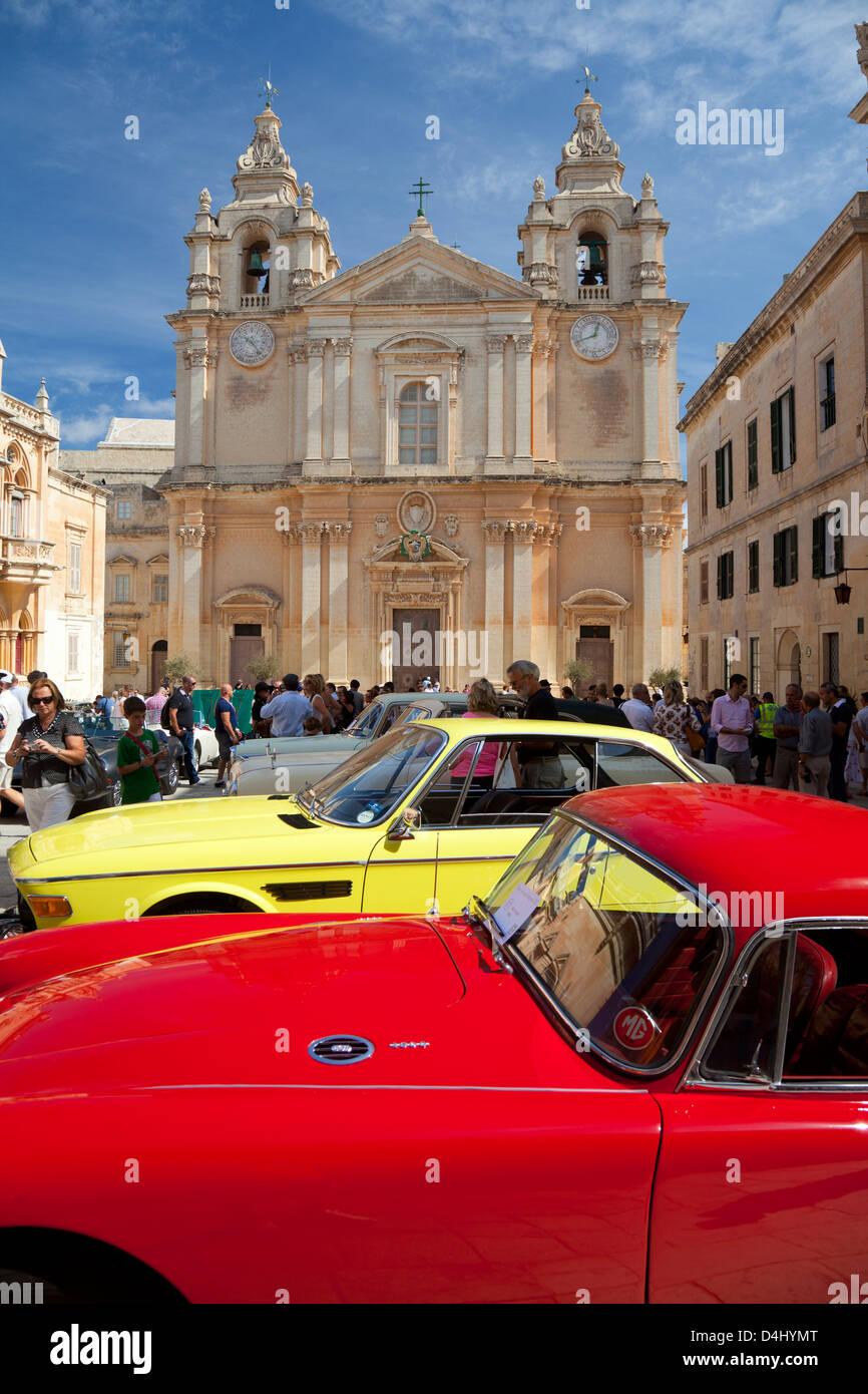Classic cars on show in St Paul\'s Square, Mdina Malta Stock Photo ...