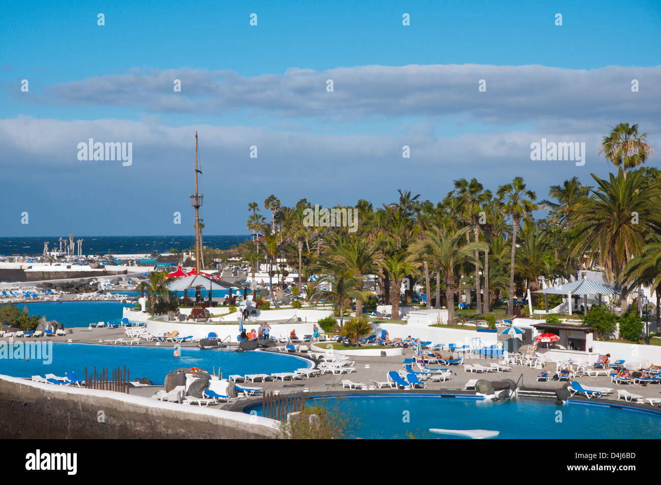 Costa Martianez seaside beach Puerto de la Cruz city Tenerife island Stock Ph...