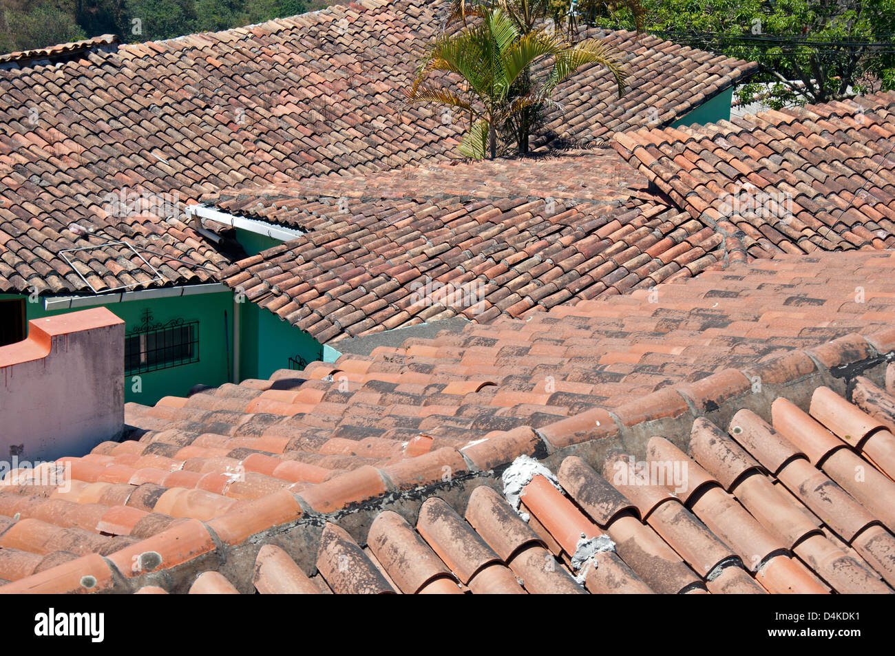 Roofs Of Spanish Style Clay Tiles On Houses In Santa Lucia, Honduras.