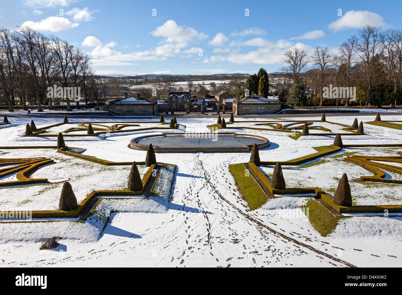 the bowes museum gardens in winter barnard castle teesdale county