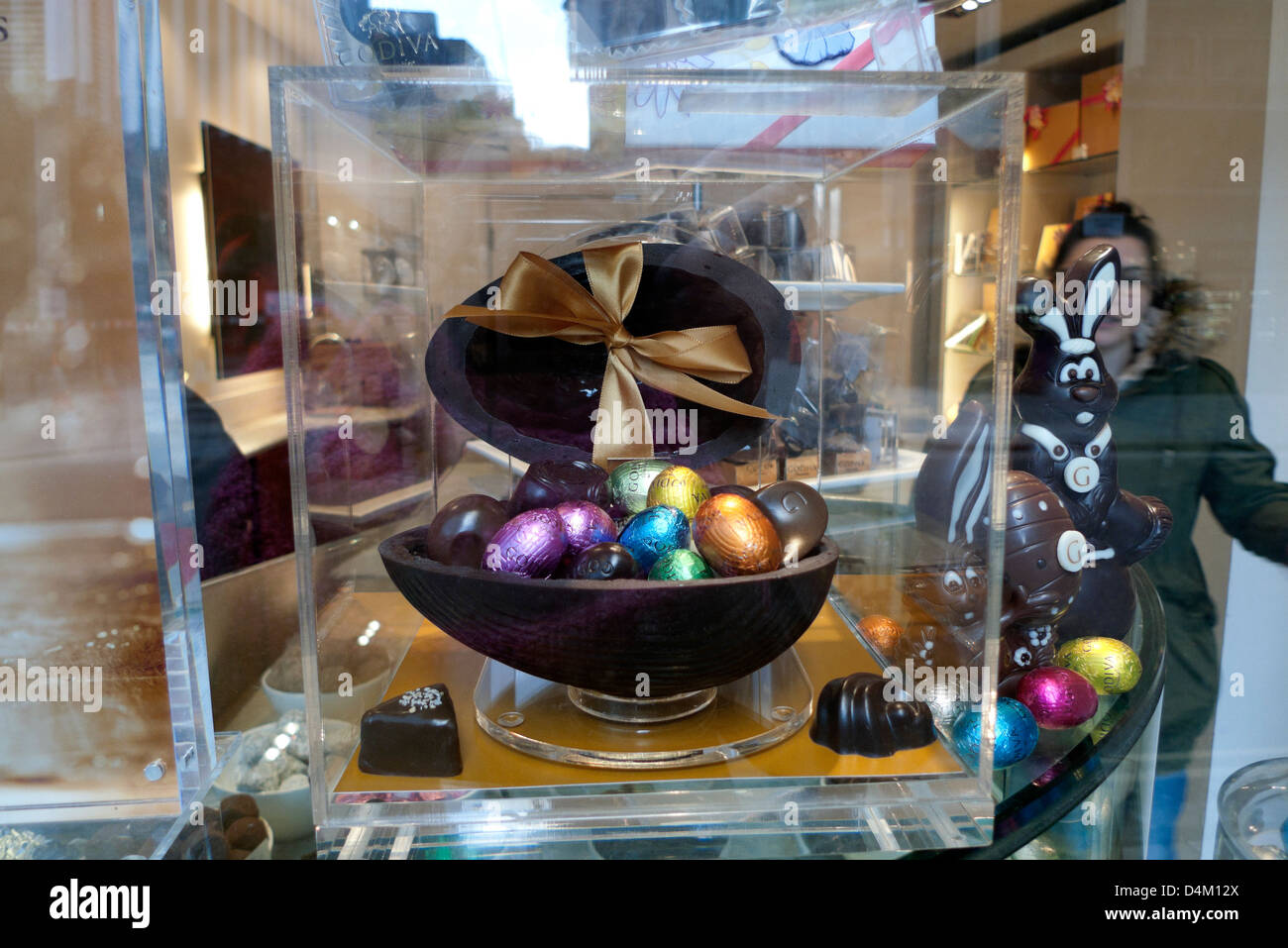 Godiva Store with a giant chocolate Easter Egg filled with small ...