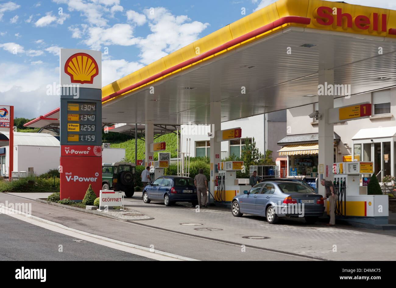 Schengen, Luxembourg or, a Shell gas station Stock Photo ...