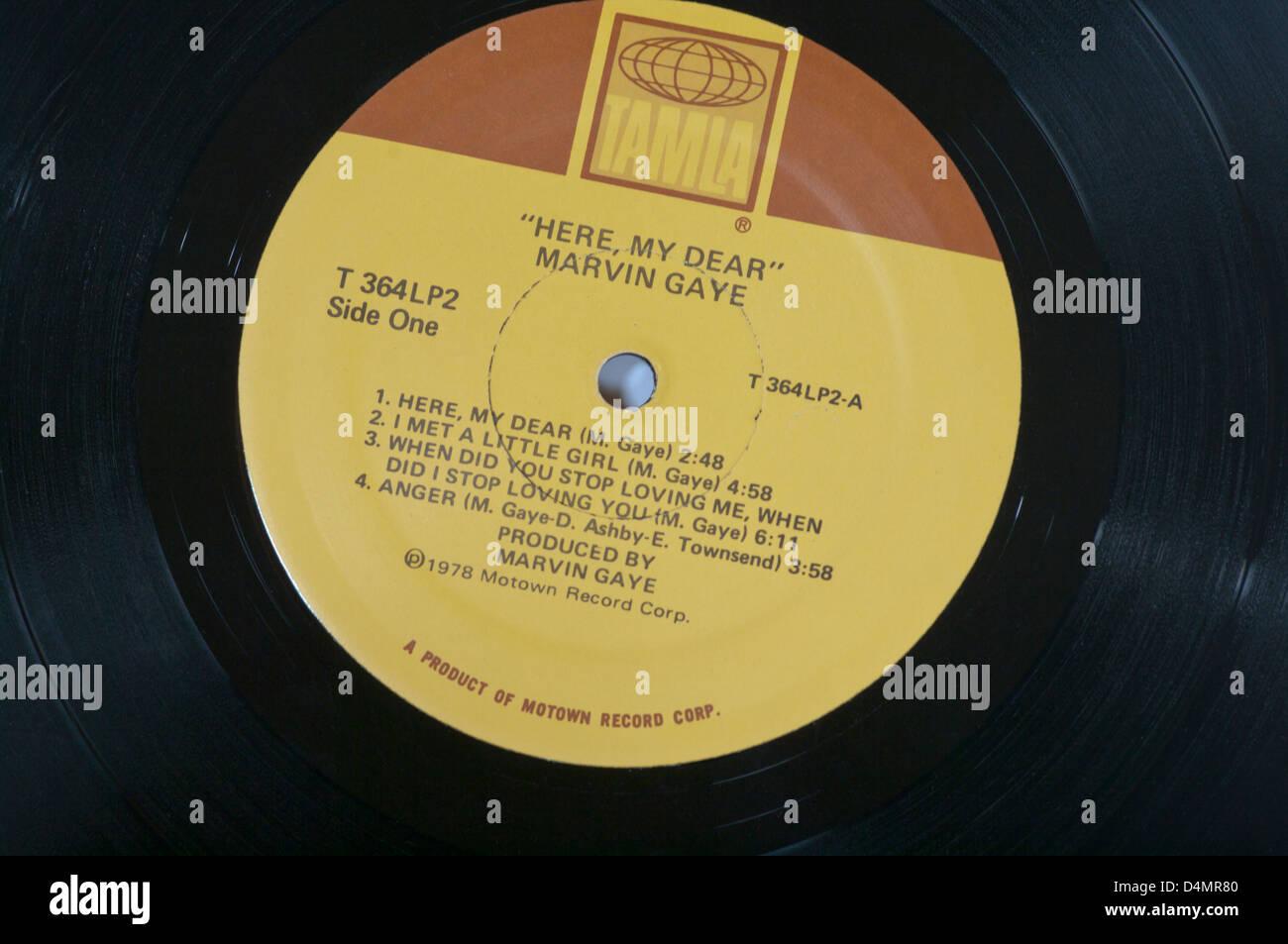 Tamla Record Label On A Vinyl Lp Record Stock Photo