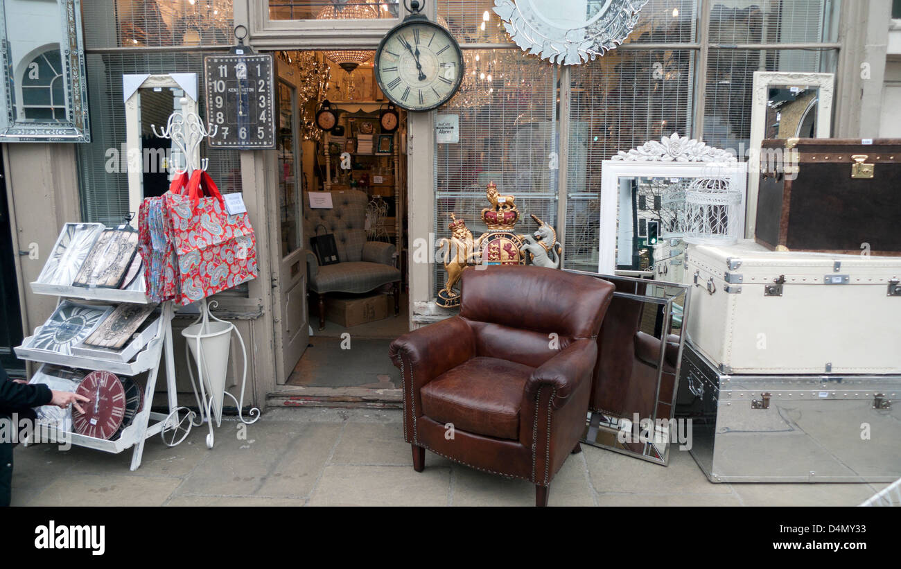 Stock Photo   Vintage display on the pavement outside an antique furniture  shop in Camden Passage Islington London N1 England UK KATHY DEWITT. Vintage display on the pavement outside an antique furniture shop