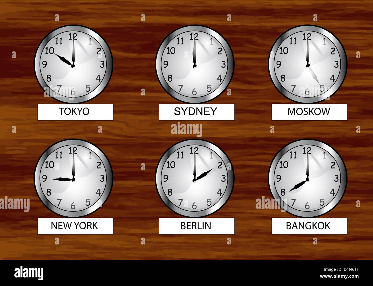 The world clock different time zones clock on the wooden wall stock photo the world clock different time zones clock on the wooden wall amipublicfo Choice Image