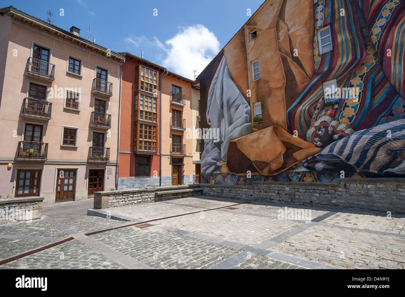 large wall mural stock photos large wall mural stock images alamy large wall mural in the plaza de las brullerias showing the various traditional trades in vitoria