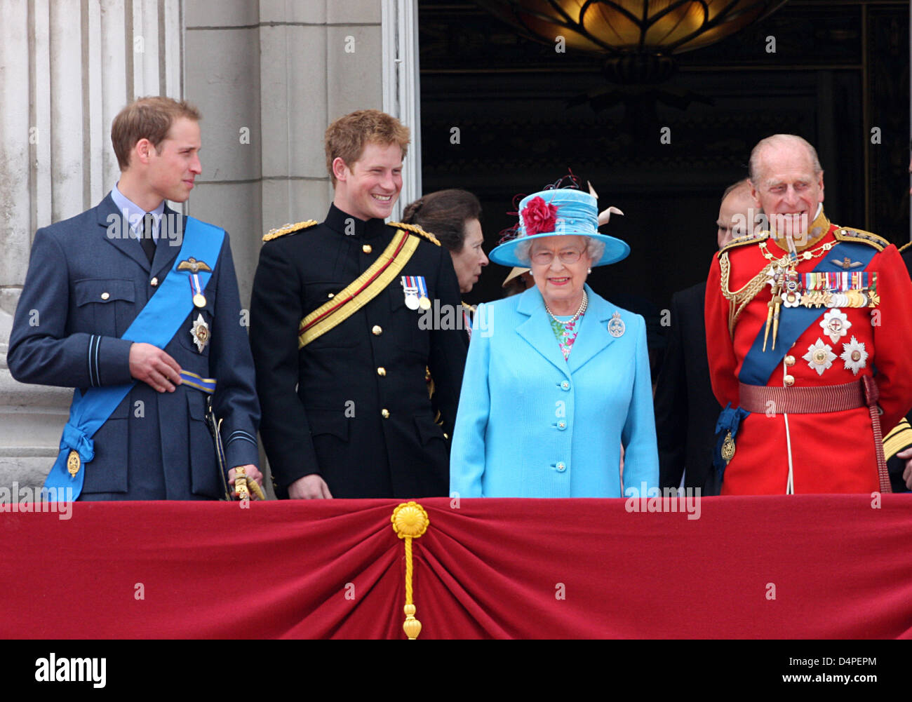 Stock photo the royal family with l r prince william of wales prince harry of wales queen elizabeth ii and prince philip duke of edinburgh attend the