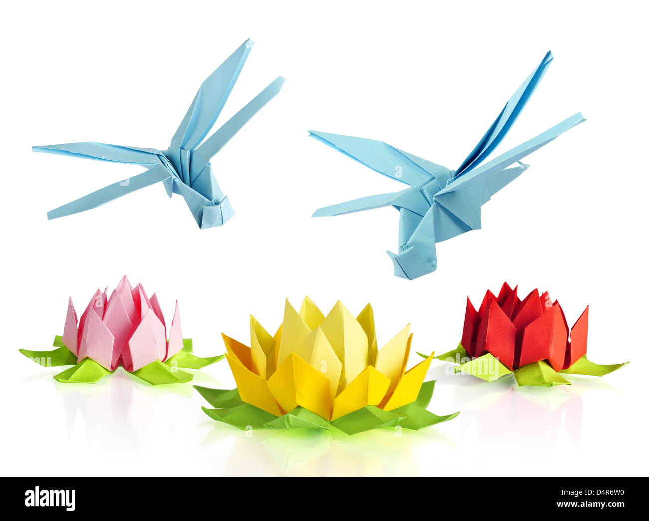Origami blue dragonfly over flowers lotus over white background origami blue dragonfly over flowers lotus over white background jeuxipadfo Image collections