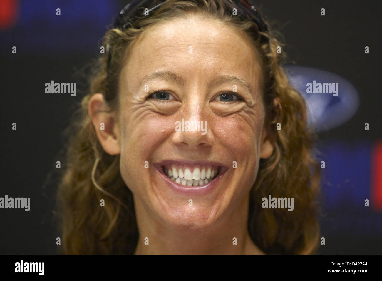 ... a press conference for the Ironman <b>Triathlon World</b> Championships Stock - british-triathlete-chrissie-wellington-smiles-during-a-press-conference-D4R7A4