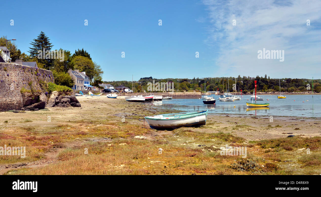 panorama of small boats in the coastline of la forêt fouesnant
