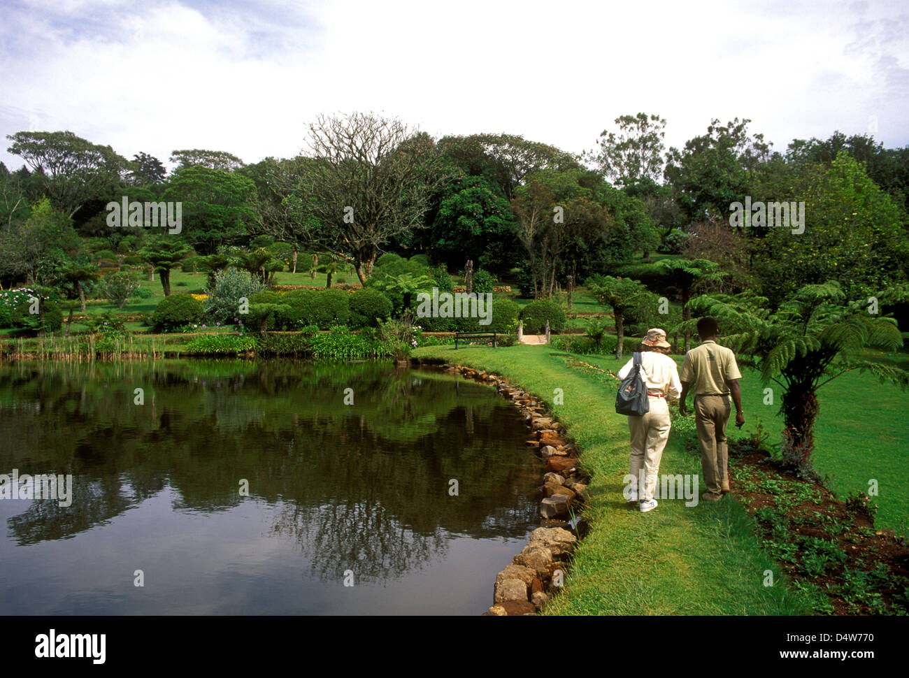 Tourist And Guide Visiting Vumba Botanical Gardens Near Town Of Stock Photo Royalty Free