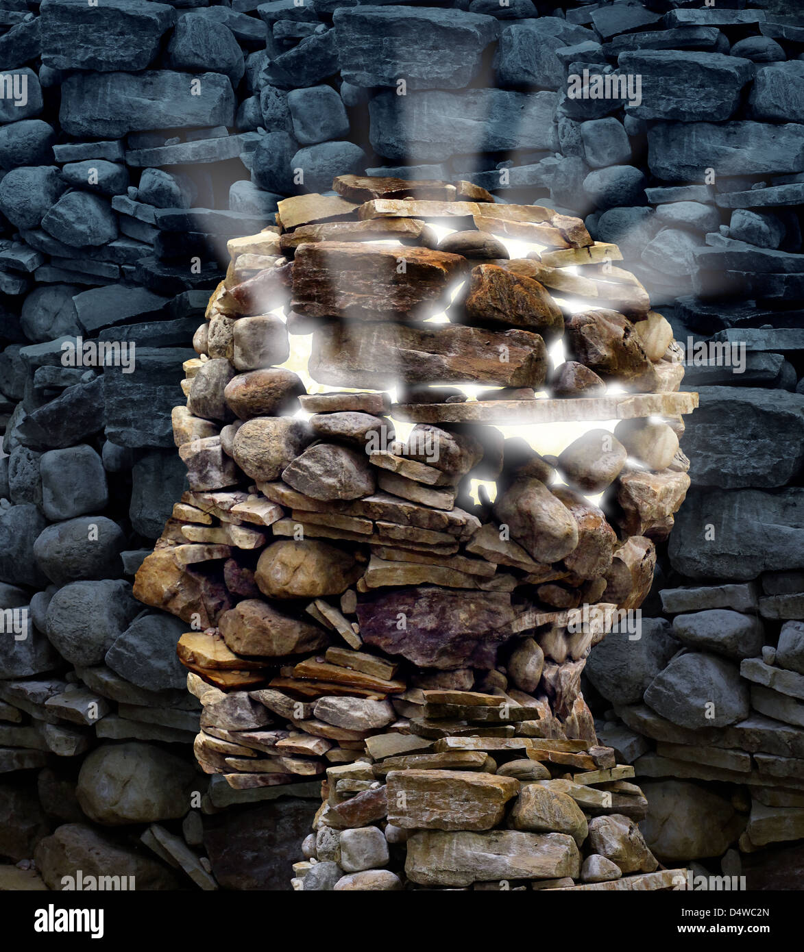 Power of thinking and free your mind as a business or health care power of thinking and free your mind as a business or health care concept with a group of rocks in the shape of a human head glowing with a bright inner biocorpaavc
