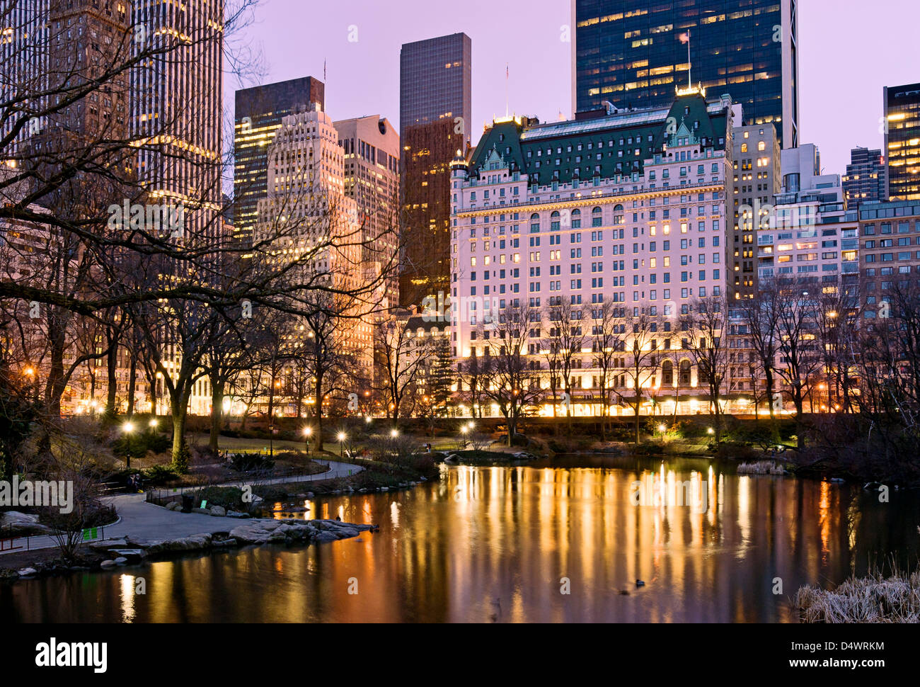 Plaza hotel midtown manhattan dusk central park stock for Hotels near central park new york