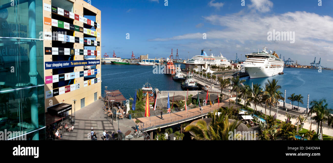 Las palmas capital of gran canaria the port showing two cruise ships stock photo royalty free - Port of las palmas gran canaria ...