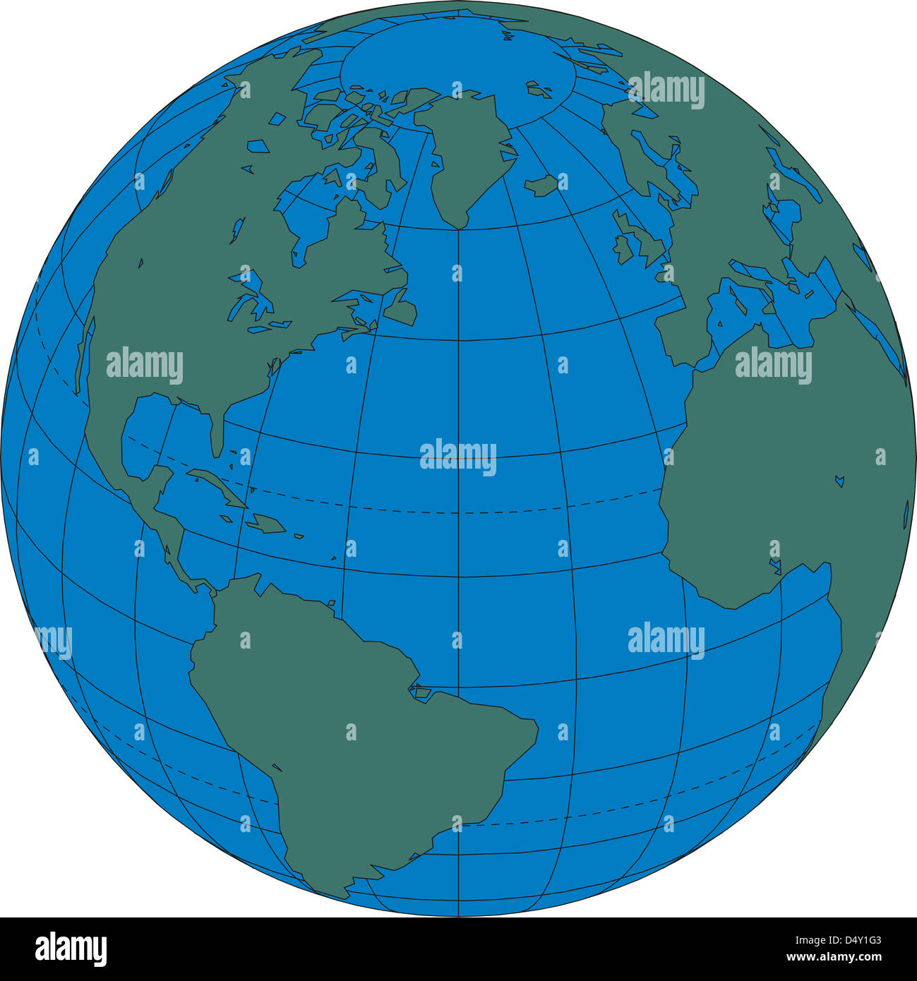 World map globe North Atlantic Ocean Stock Photo Royalty Free