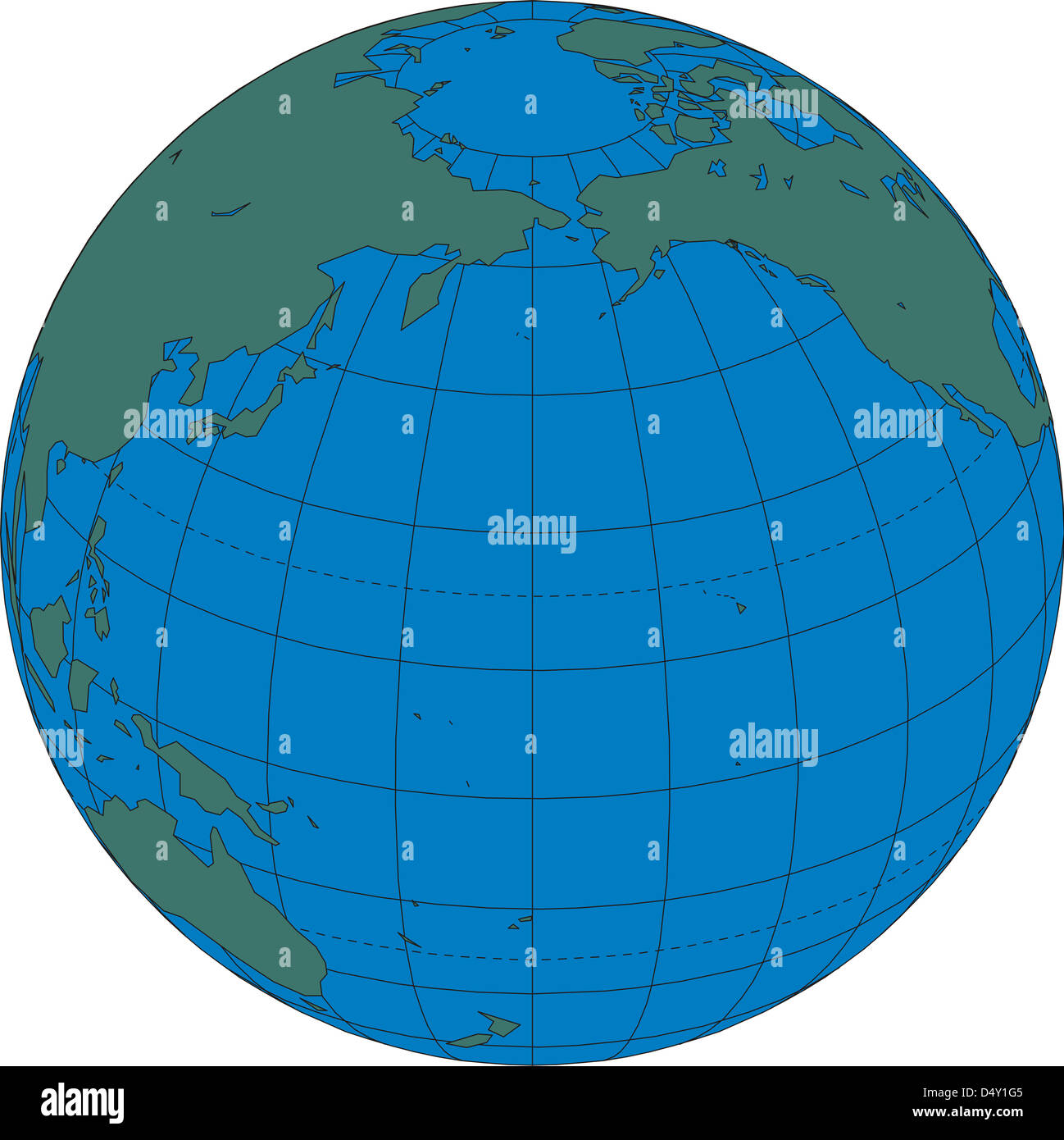 World Map Globe North Pacific Ocean Stock Photo Royalty Free - World map pacific ocean