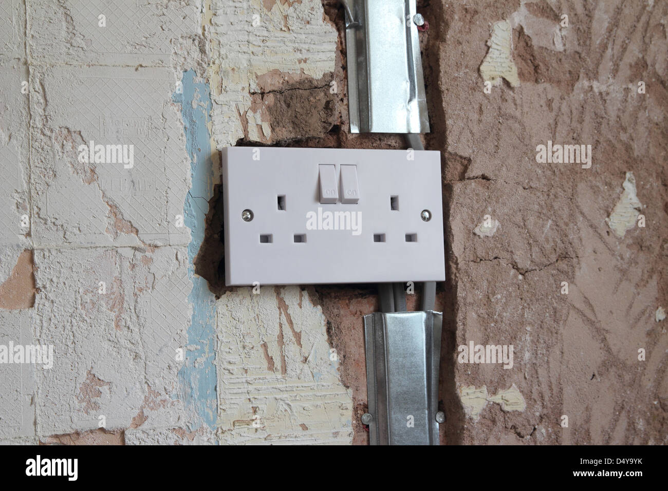 Rewiring A Mobile Home Schematics Data Wiring Diagrams Rewire Old House Newly Installed Twin Electrical Socket As Part Of Domestic Stock Photo 54690263 Alamy For Electricity Your
