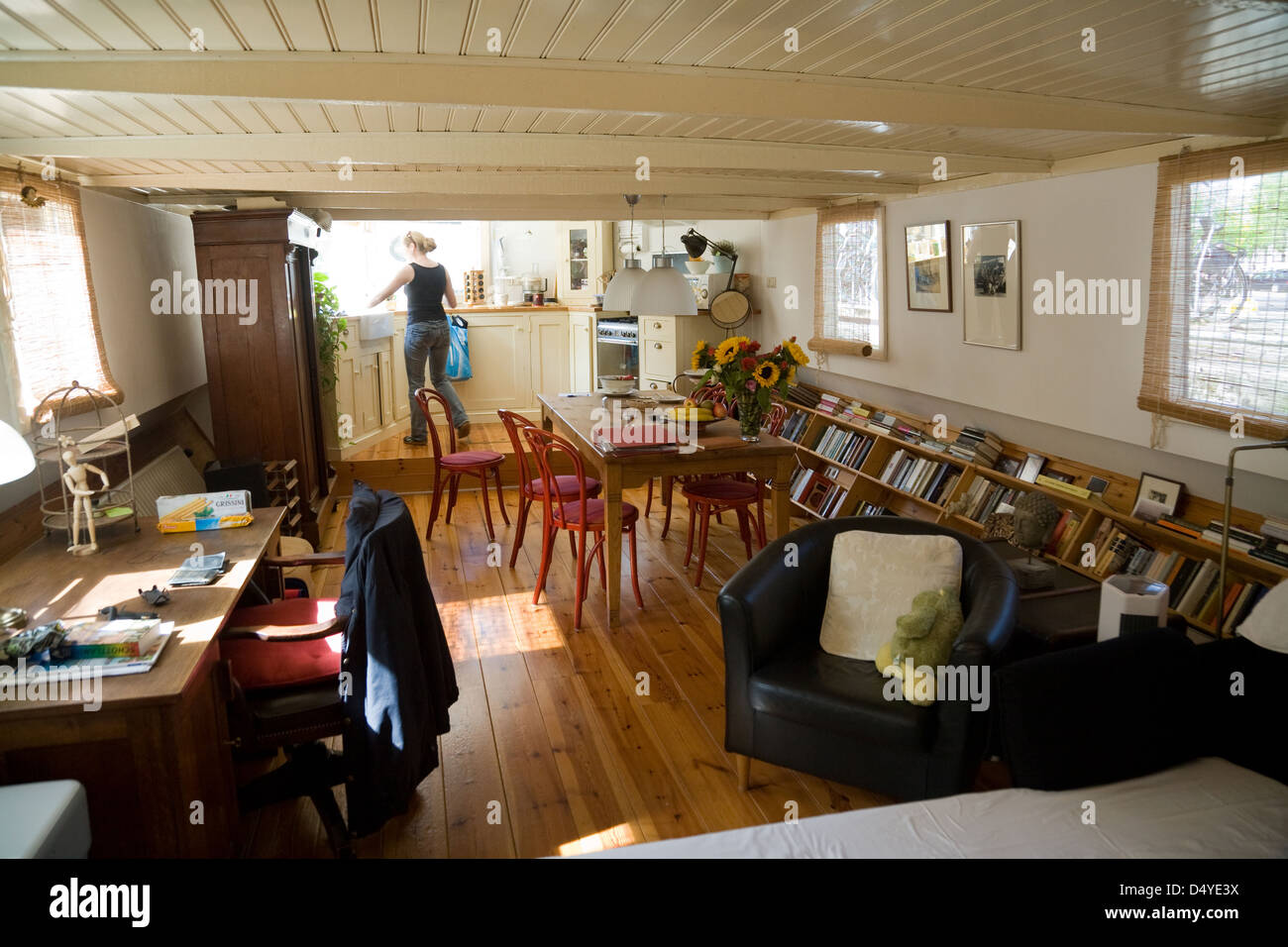 Captivating Amsterdam, Netherlands, The Interior Of A Houseboat   Stock Image Part 21