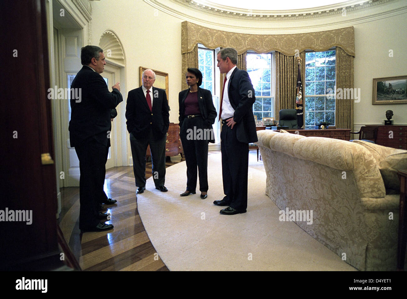 george bush oval office. President George W. Bush Meets With CIA Director Tenet, Vice Dick Cheney And National Security Advisor Condoleezza Rice Sunday, Oct. 7, Oval Office