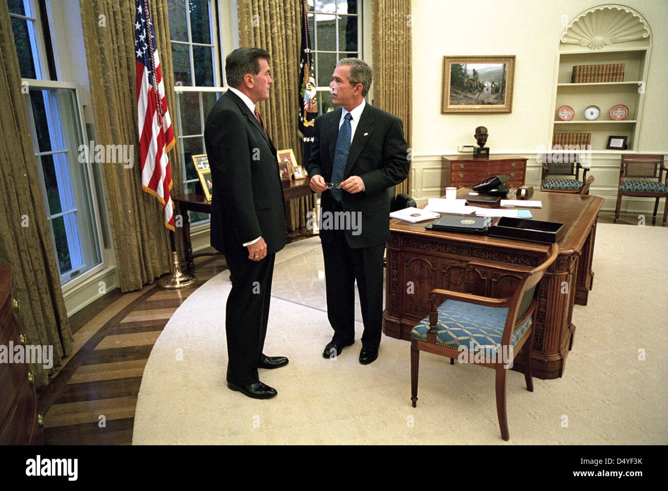 bush oval office. President George W. Bush Talks With Pennsylvania Gov. Tom Ridge, Director Of The Office Homeland Security, Monday, Oct. 8, 2001, In Oval