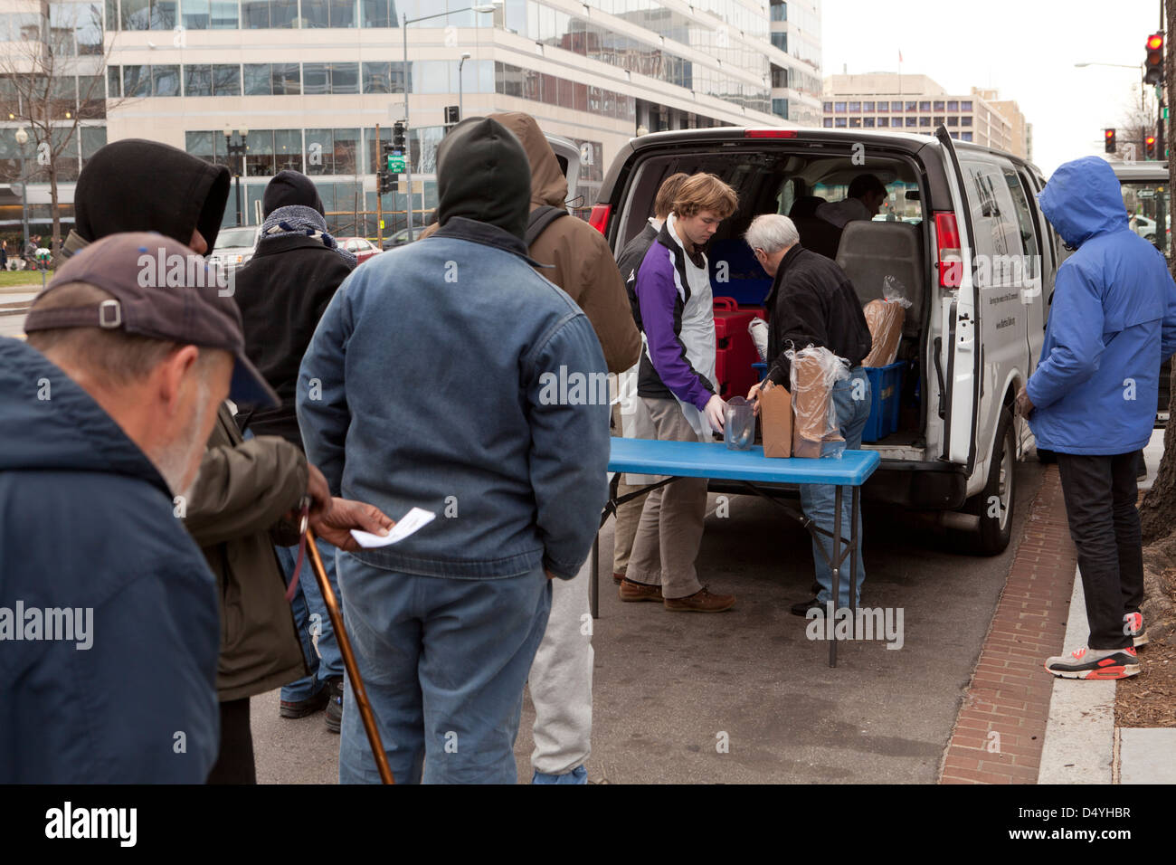 Charming Homeless Men Standing In Line For Soup Kitchen Van   Washington, DC USA