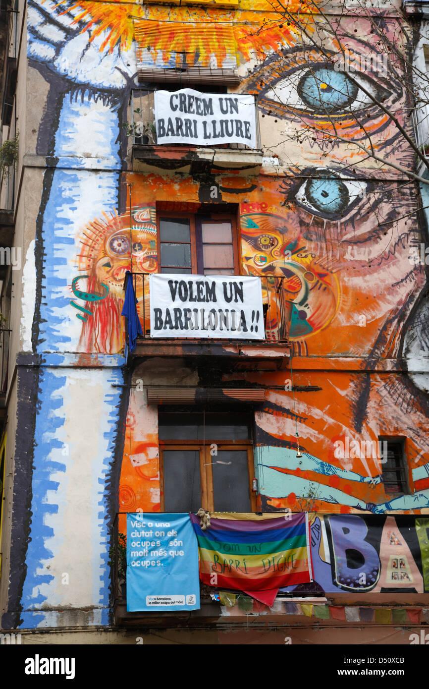 Graffiti wall barcelona - El Raval Graffiti And Wallpaintings At Rambla De Raval Barcelona Spain Stock