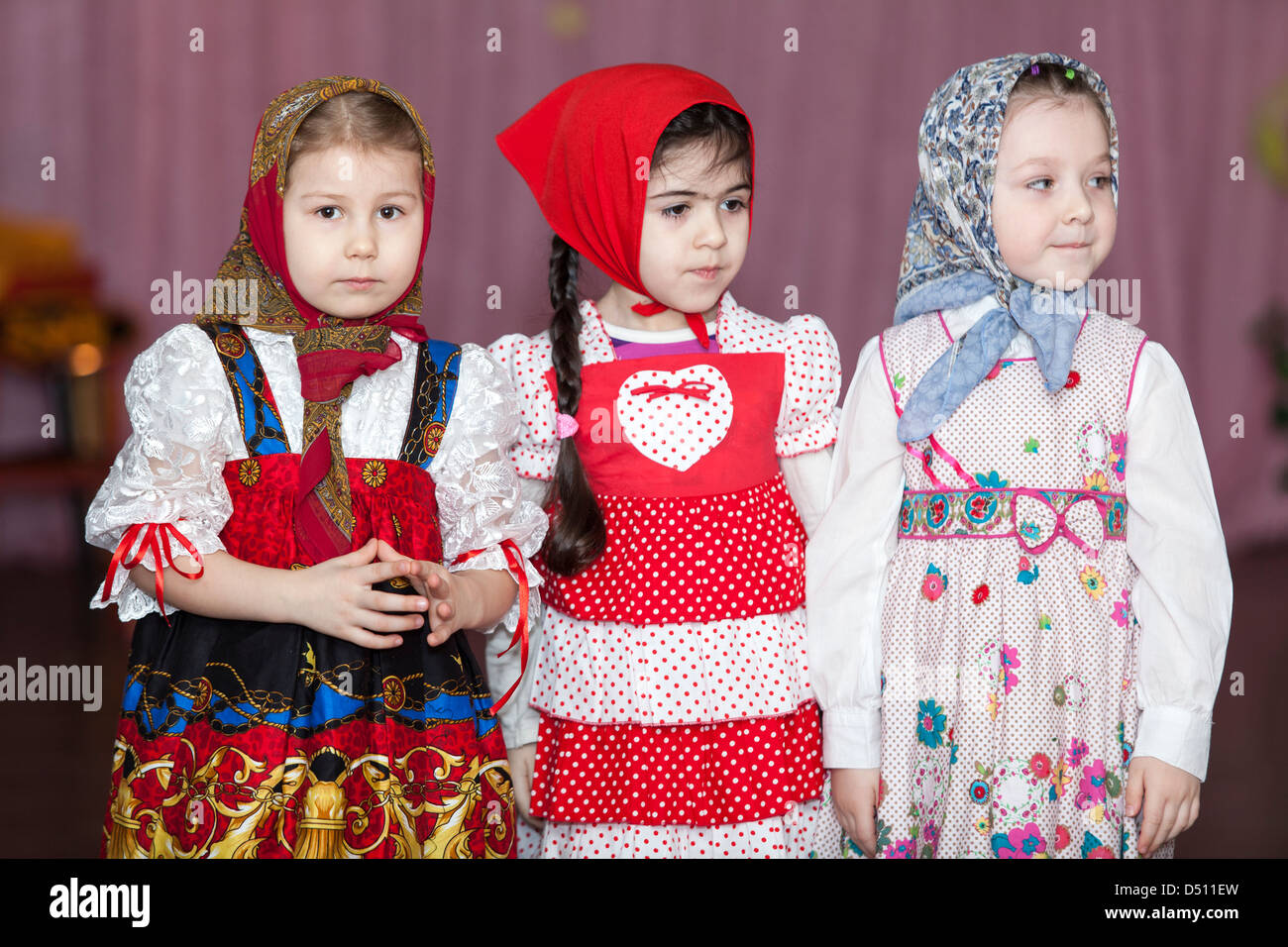cute girls in russian traditional clothes in kindergarten standing cute girls in russian traditional clothes in kindergarten standing on theater scene russia