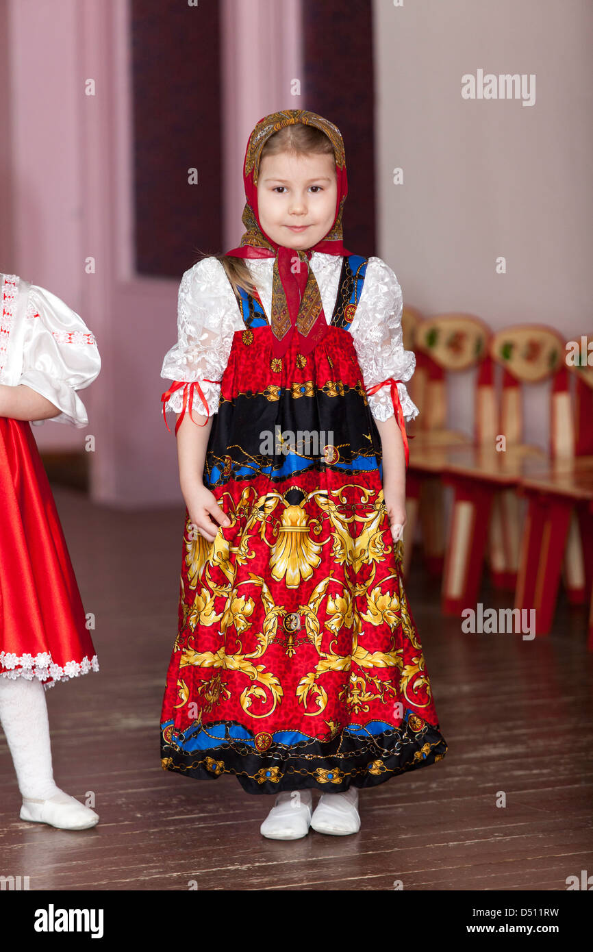 cute girl in russian traditional clothes in kindergarten standing cute girl in russian traditional clothes in kindergarten standing on theater stage russia