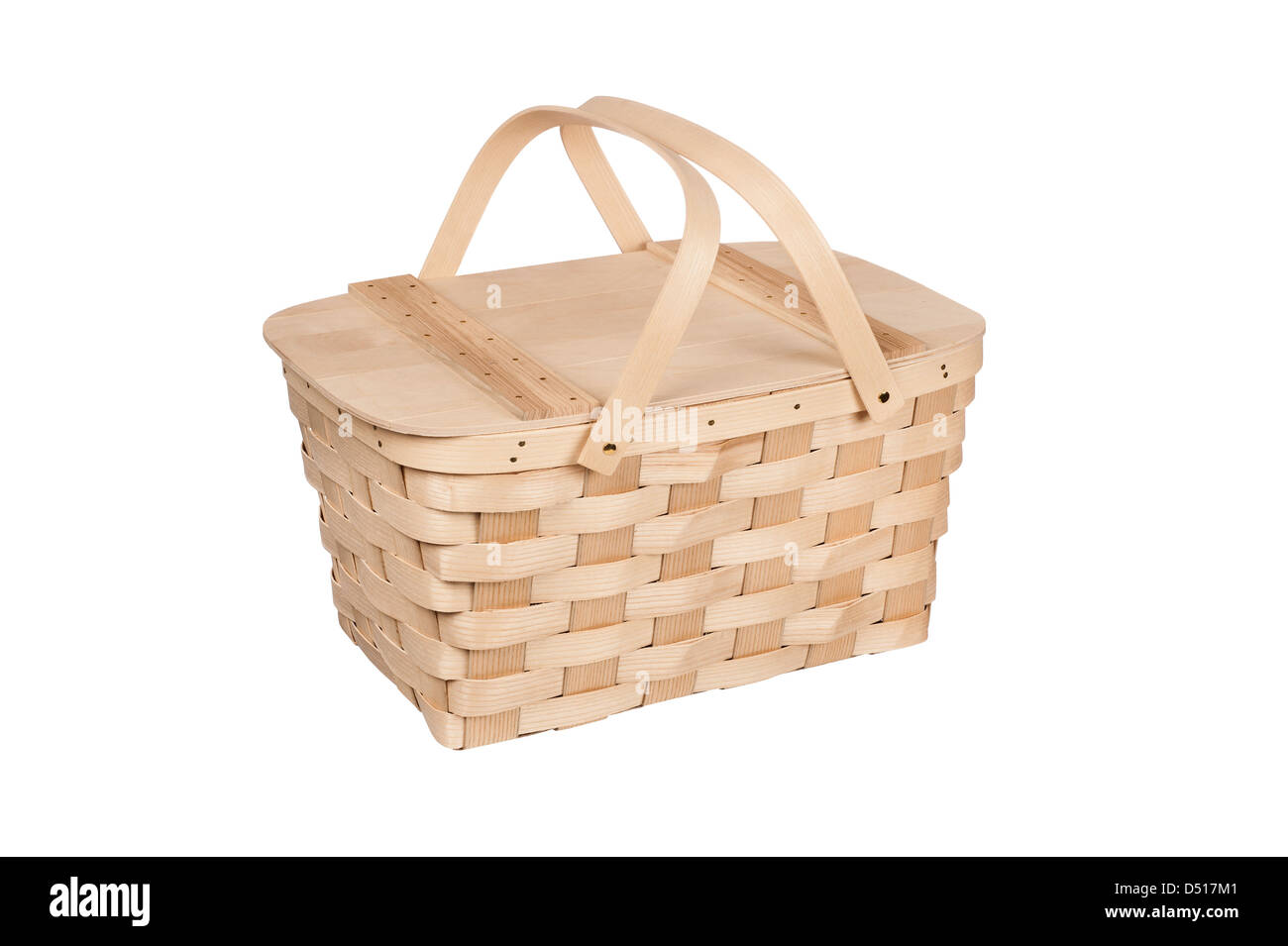 White wicker baskets with handle - A New Wicker And Wood Picnic Basket With Lid And Handles Isolated On White