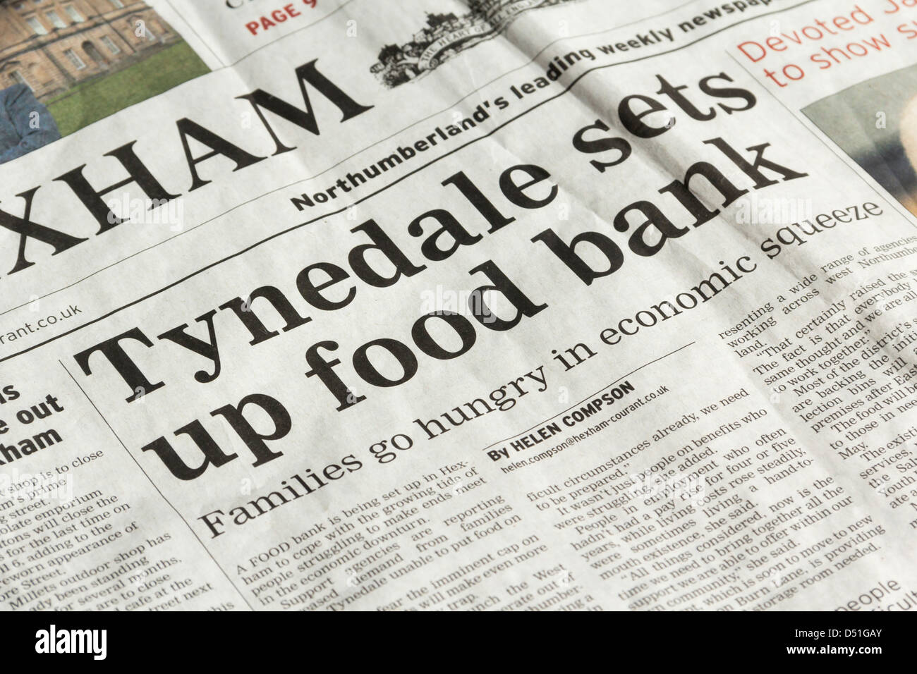 Headline On The Setting Up Of A Food Bank In Tynedale Stock Photo ...