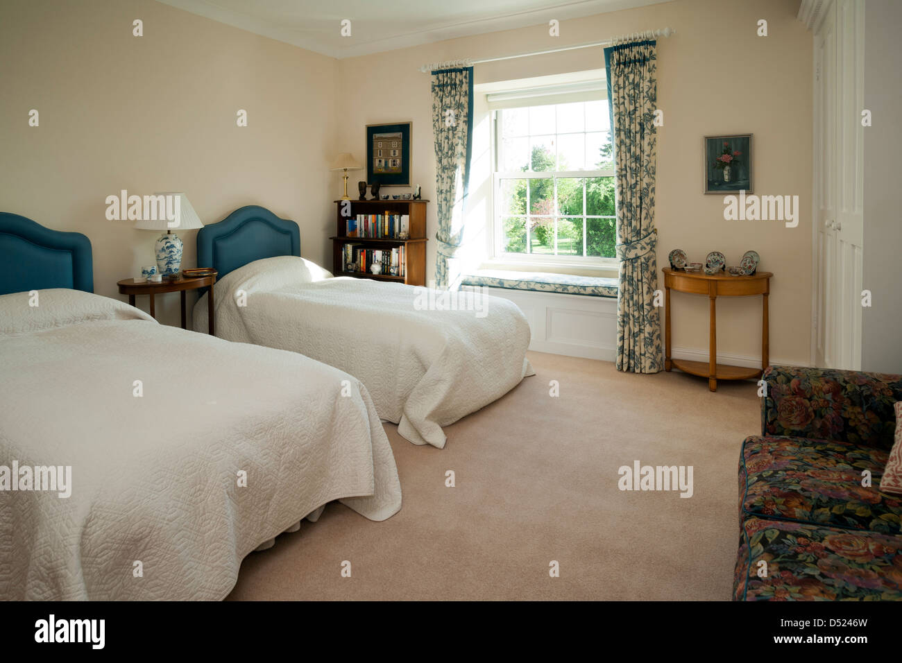 Stock Photo   Two single beds a guest bedroom. Two single beds a guest bedroom Stock Photo  Royalty Free Image