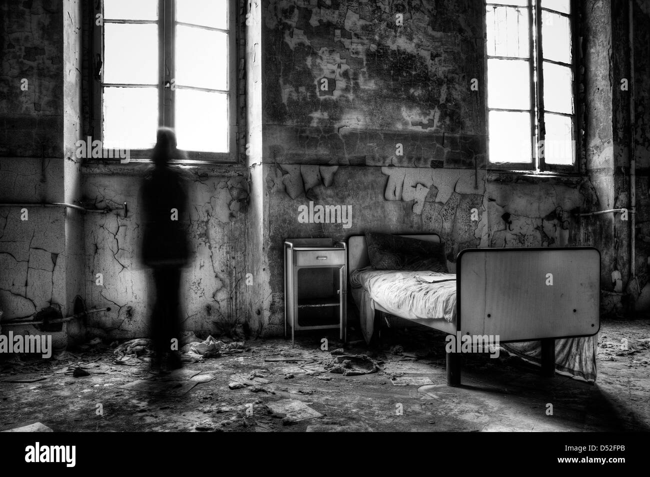 Italy. Abandoned psychiatric hospital room Stock Photo ...