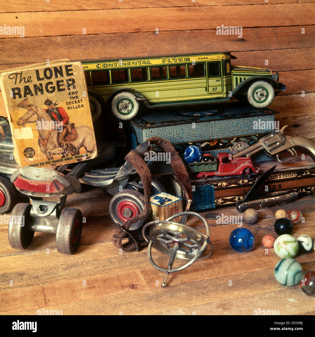 Roller skates book - Collection Of Antique Toys Trucks Roller Skates Cap Gun Gyroscope And Lone