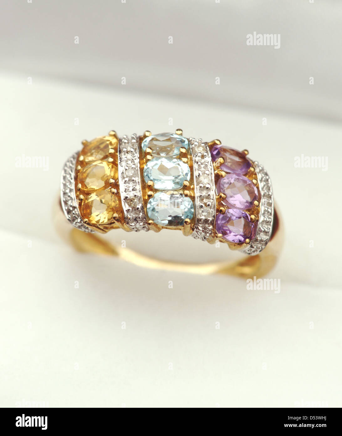 Beautiful gold ring with gemstones and diamonds - citrine ...