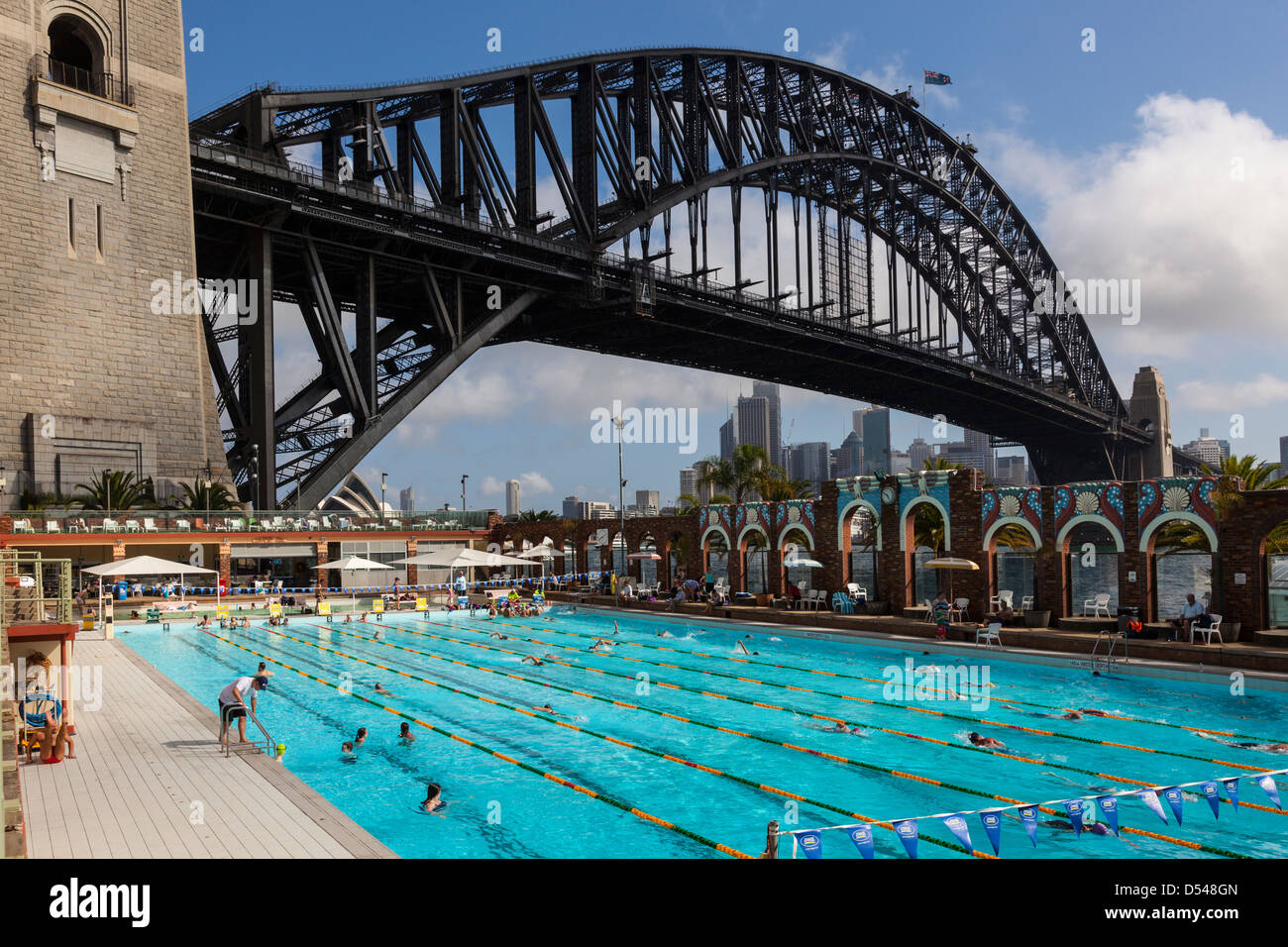 olympic swimming pool beneath the sydney harbour bridge nsw australia stock image olympic swimming pool