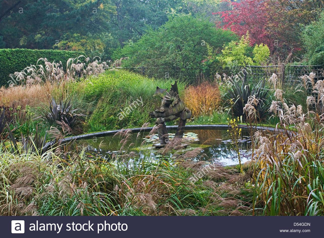 Knoll Gardens Garden Sculpture Dragon Garden Pond Dorset