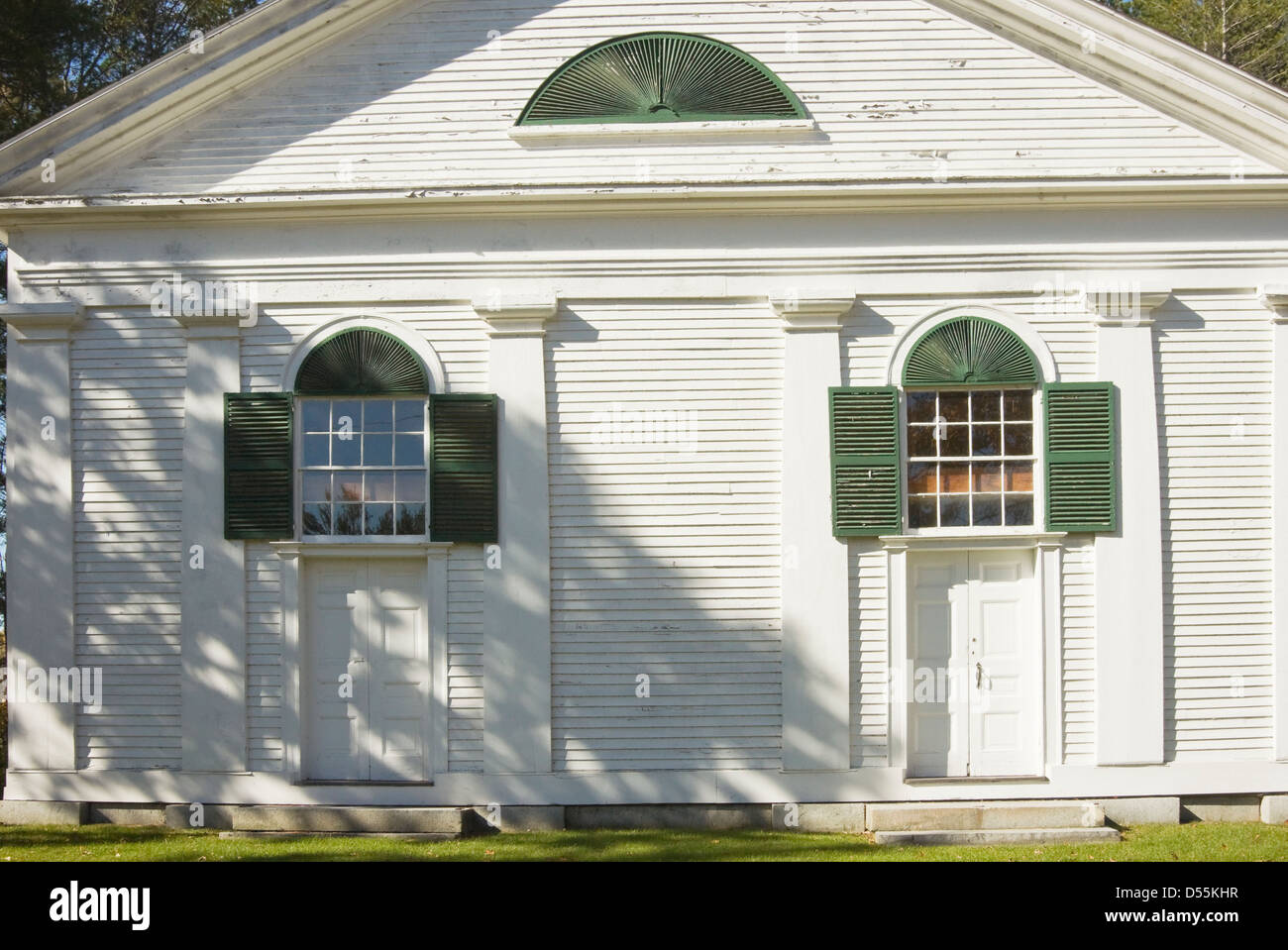 Front doors to old country church in Maine & Front doors to old country church in Maine Stock Photo Royalty ...